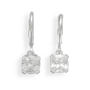 Round Edge Square CZ Lever Back Earrings