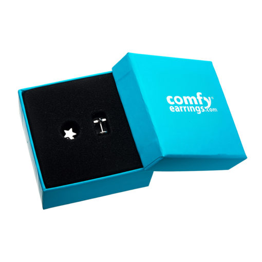 Stainless Star ComfyEarrings in blue ComfyEarrings box.