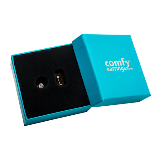 Crystal Clear Rose Gold ComfyEarrings in box.